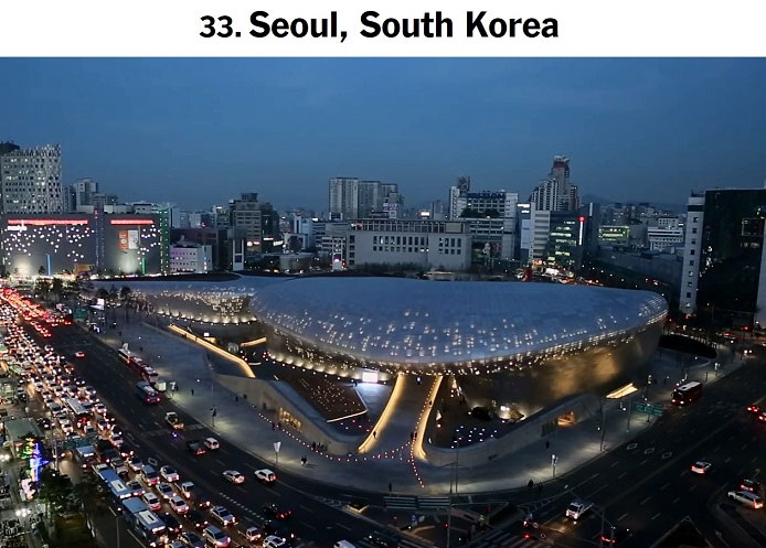 Seoul was included in a list of 52 cities and countries that the NYT recommends readers visit in 2015. Pictured is a view of the Dongdaemun Design Plaza lit at night.
