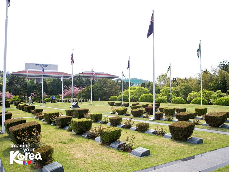 21 Quốc kỳ của các quốc gia Liên hợp quốc có binh lính tham gia vào chiến tranh Triều Tiên đã được căng lên tại đây như một lời tri ân sâu sắc dành cho những người đã ngã xuống vì độc lập, tự do của dân tộc Đại Hàn.